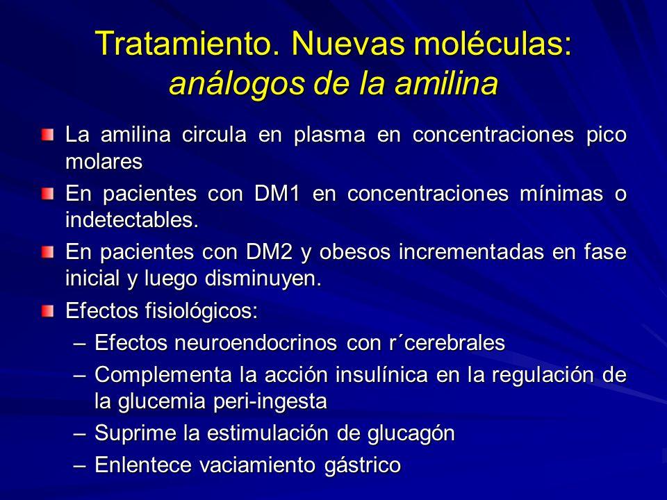 Tratamiento. Nuevas moléculas: análogos de la amilina La amilina circula en plasma en concentraciones pico molares En pacientes con DM1 en concentraci