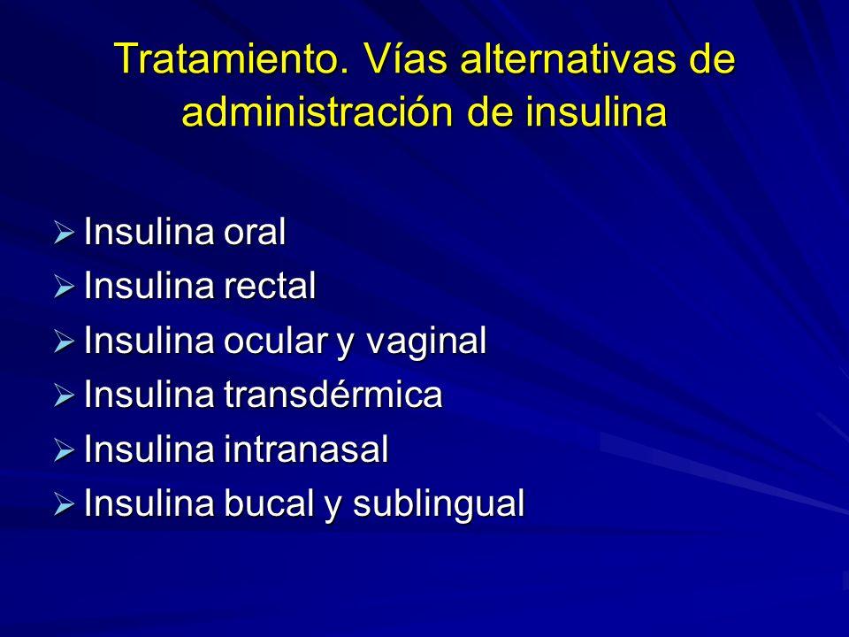 Tratamiento. Vías alternativas de administración de insulina Insulina oral Insulina oral Insulina rectal Insulina rectal Insulina ocular y vaginal Ins