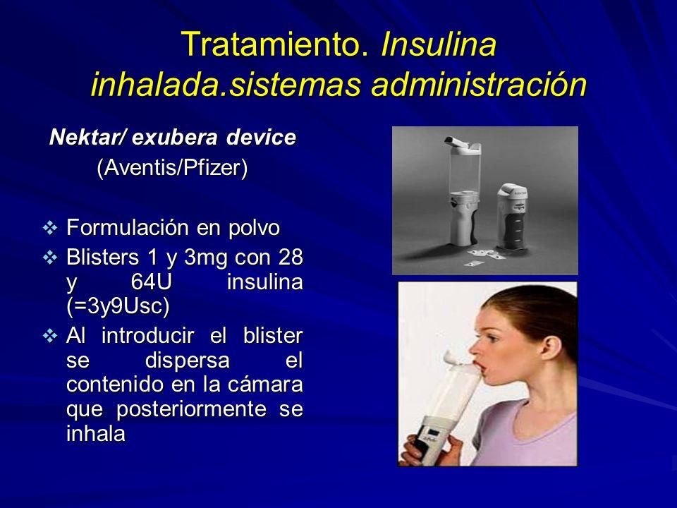 Tratamiento. Insulina inhalada.sistemas administración Nektar/ exubera device (Aventis/Pfizer) Formulación en polvo Formulación en polvo Blisters 1 y