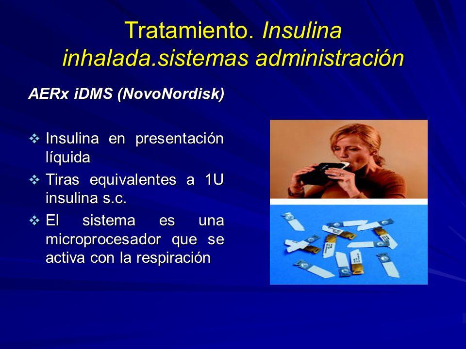 Tratamiento. Insulina inhalada.sistemas administración AERx iDMS (NovoNordisk) Insulina en presentación líquida Insulina en presentación líquida Tiras