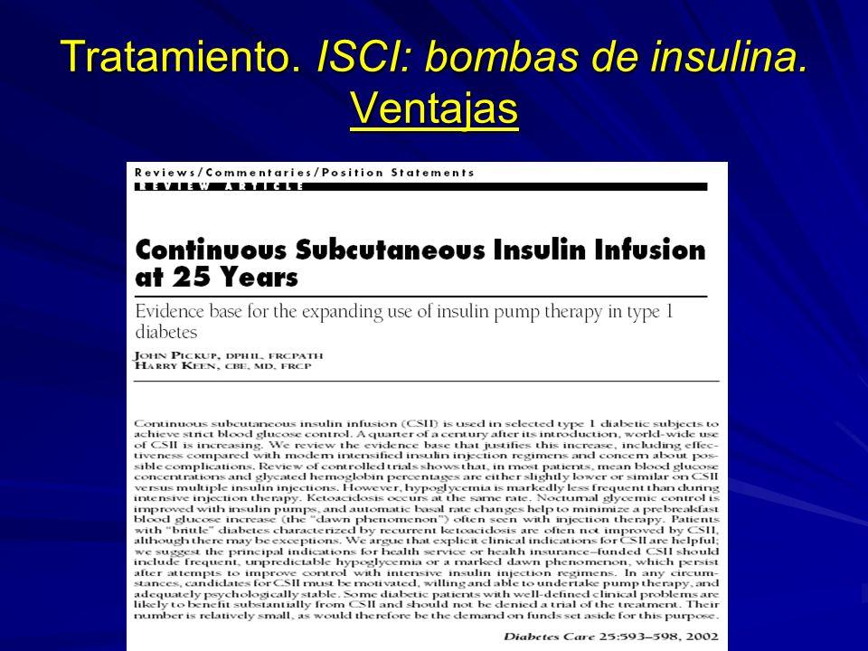 Tratamiento. ISCI: bombas de insulina. Ventajas