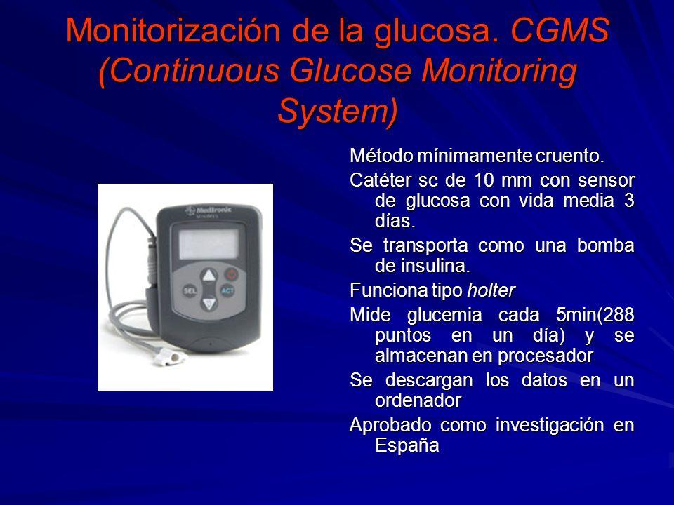 Monitorización de la glucosa. CGMS (Continuous Glucose Monitoring System) Método mínimamente cruento. Catéter sc de 10 mm con sensor de glucosa con vi