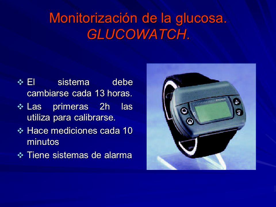 Monitorización de la glucosa. GLUCOWATCH. El sistema debe cambiarse cada 13 horas. El sistema debe cambiarse cada 13 horas. Las primeras 2h las utiliz