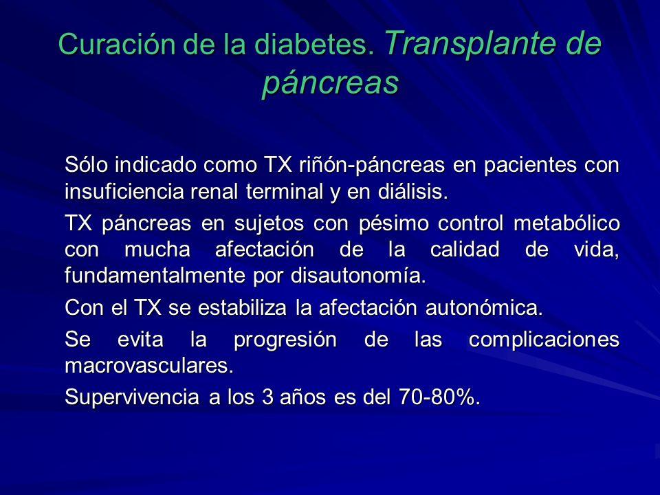 Curación de la diabetes. Transplante de páncreas Sólo indicado como TX riñón-páncreas en pacientes con insuficiencia renal terminal y en diálisis. TX