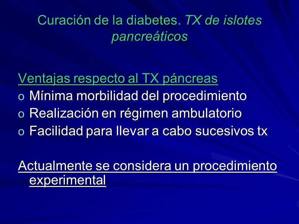 Curación de la diabetes. TX de islotes pancreáticos Ventajas respecto al TX páncreas o Mínima morbilidad del procedimiento o Realización en régimen am