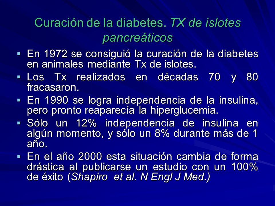 Curación de la diabetes. TX de islotes pancreáticos En 1972 se consiguió la curación de la diabetes en animales mediante Tx de islotes. En 1972 se con