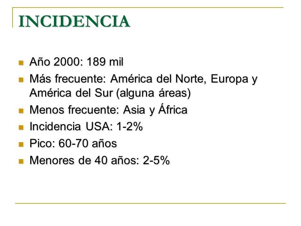 INCIDENCIA Año 2000: 189 mil Año 2000: 189 mil Más frecuente: América del Norte, Europa y América del Sur (alguna áreas) Más frecuente: América del No