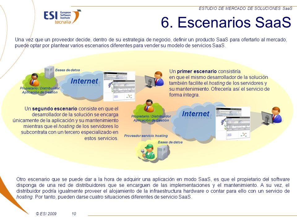 © ESI 200910 ESTUDIO DE MERCADO DE SOLUCIONES SaaS 6. Escenarios SaaS Un primer escenario consistiría en que el mismo desarrollador de la solución tam