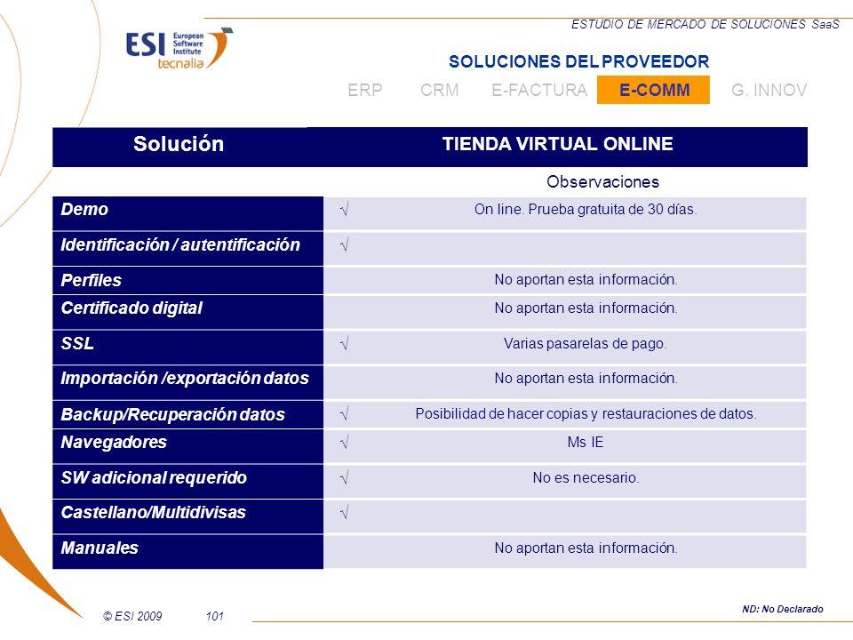 © ESI 2009101 ESTUDIO DE MERCADO DE SOLUCIONES SaaS Solución TIENDA VIRTUAL ONLINE Observaciones Demo On line. Prueba gratuita de 30 días. Identificac