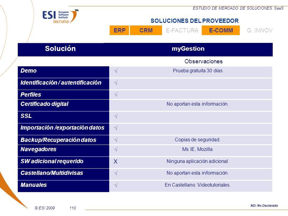 © ESI 2009110 ESTUDIO DE MERCADO DE SOLUCIONES SaaS Solución myGestion Observaciones Demo Prueba gratuita 30 días Identificación / autentificación Per