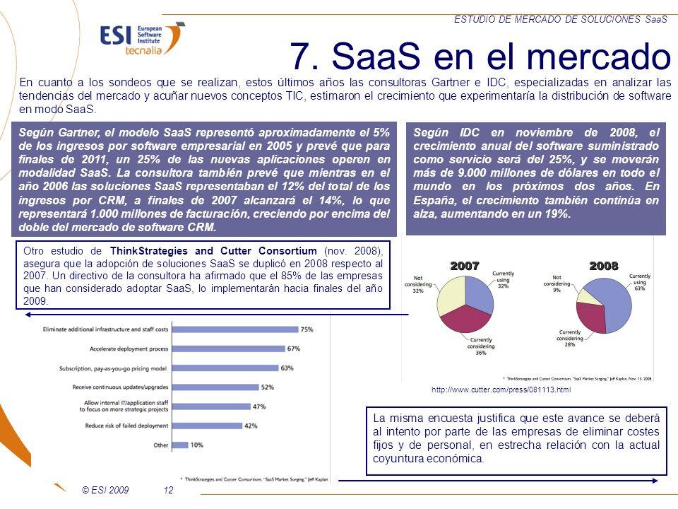 © ESI 200912 ESTUDIO DE MERCADO DE SOLUCIONES SaaS 7. SaaS en el mercado http://www.cutter.com/press/081113.html Según Gartner, el modelo SaaS represe