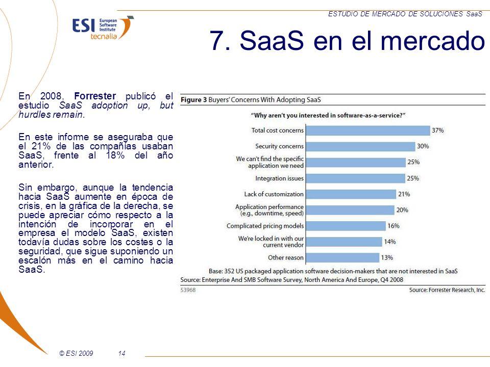 © ESI 200914 ESTUDIO DE MERCADO DE SOLUCIONES SaaS En 2008, Forrester publicó el estudio SaaS adoption up, but hurdles remain. En este informe se aseg