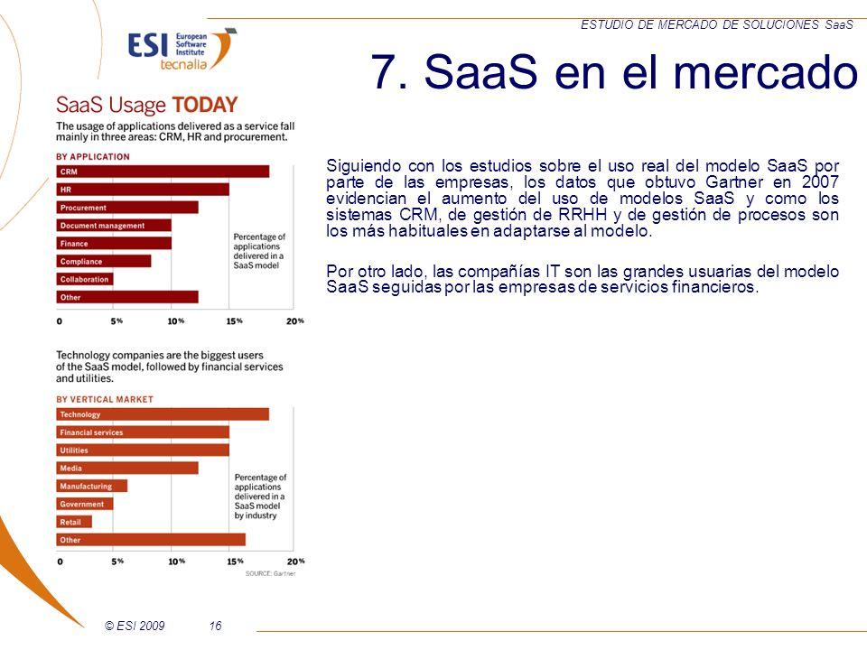 © ESI 200916 ESTUDIO DE MERCADO DE SOLUCIONES SaaS 7. SaaS en el mercado Siguiendo con los estudios sobre el uso real del modelo SaaS por parte de las