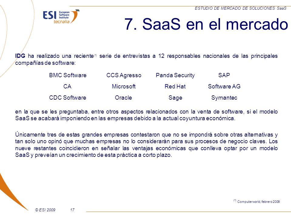 © ESI 200917 ESTUDIO DE MERCADO DE SOLUCIONES SaaS IDG ha realizado una reciente (1) serie de entrevistas a 12 responsables nacionales de las principa