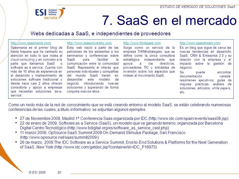 © ESI 200920 ESTUDIO DE MERCADO DE SOLUCIONES SaaS Webs dedicadas a SaaS, e independientes de proveedores 7. SaaS en el mercado http://www.saasmania.c