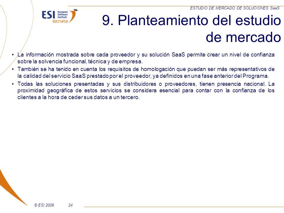 © ESI 200924 ESTUDIO DE MERCADO DE SOLUCIONES SaaS 9. Planteamiento del estudio de mercado La información mostrada sobre cada proveedor y su solución