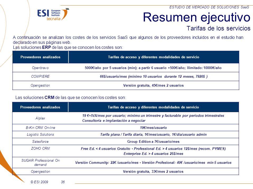© ESI 200936 ESTUDIO DE MERCADO DE SOLUCIONES SaaS Resumen ejecutivo Tarifas de los servicios Proveedores analizadosTarifas de acceso y diferentes mod
