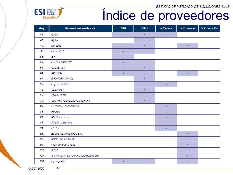 © ESI 200944 ESTUDIO DE MERCADO DE SOLUCIONES SaaS Pag.Proveedores analizadosERPCRMe-Facturae-ComercioG. Innovación 44. ILION 47. Alplax 49. NetSuite