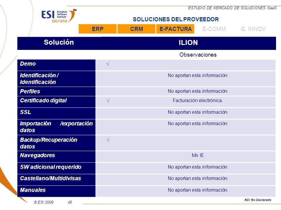 © ESI 200946 ESTUDIO DE MERCADO DE SOLUCIONES SaaS SoluciónILION Observaciones Demo Identificación / Identificación No aportan esta información. Perfi