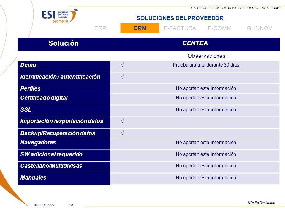 © ESI 200949 ESTUDIO DE MERCADO DE SOLUCIONES SaaS Solución CENTEA Observaciones Demo Prueba gratuita durante 30 días. Identificación / autentificació