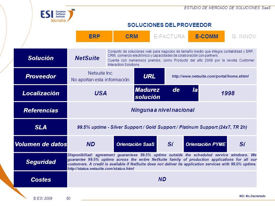 © ESI 200950 ESTUDIO DE MERCADO DE SOLUCIONES SaaS SoluciónNetSuite Conjunto de soluciones web para negocios de tamaño medio que integra contabilidad