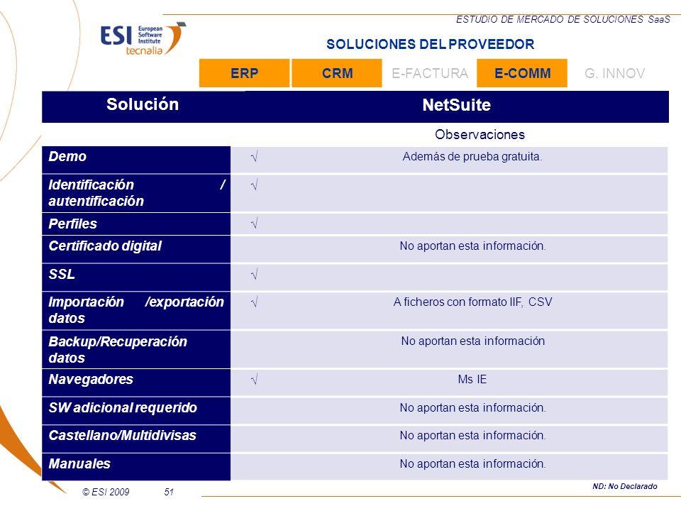 © ESI 200951 ESTUDIO DE MERCADO DE SOLUCIONES SaaS SoluciónNetSuite Observaciones Demo Además de prueba gratuita. Identificación / autentificación Per