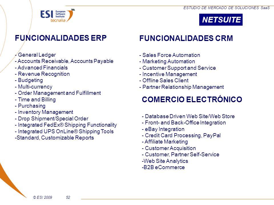 © ESI 200952 ESTUDIO DE MERCADO DE SOLUCIONES SaaS FUNCIONALIDADES CRM - Sales Force Automation - Marketing Automation - Customer Support and Service