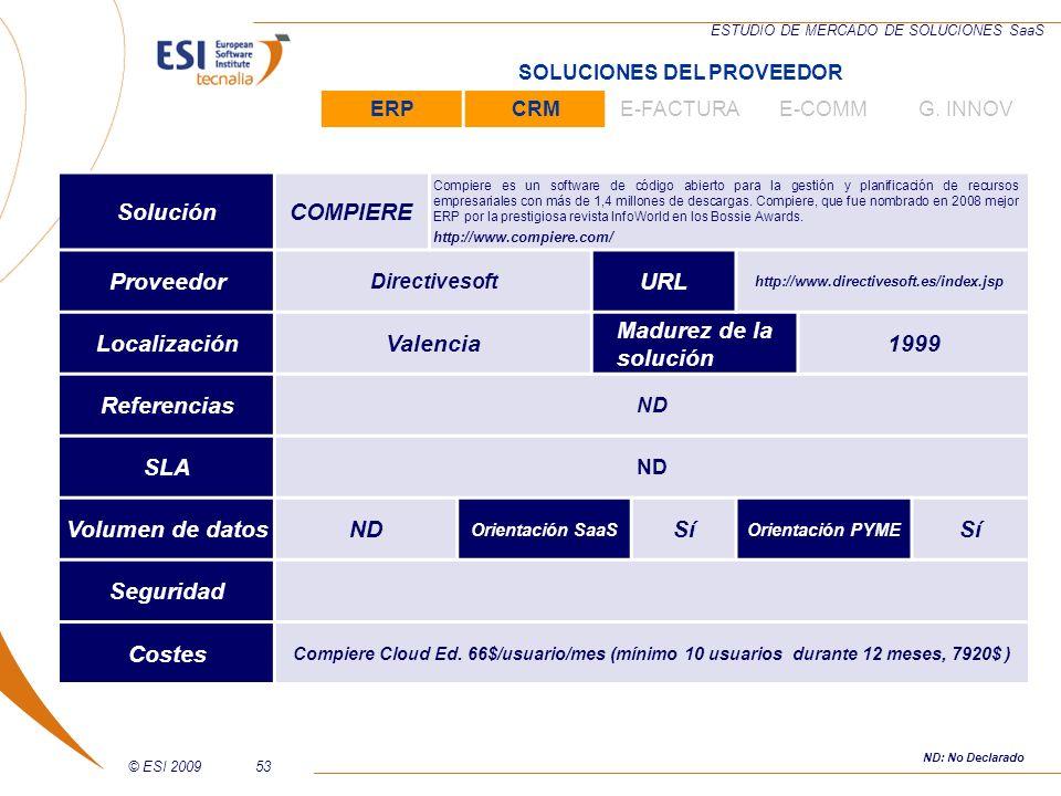 © ESI 200953 ESTUDIO DE MERCADO DE SOLUCIONES SaaS SoluciónCOMPIERE Compiere es un software de código abierto para la gestión y planificación de recur