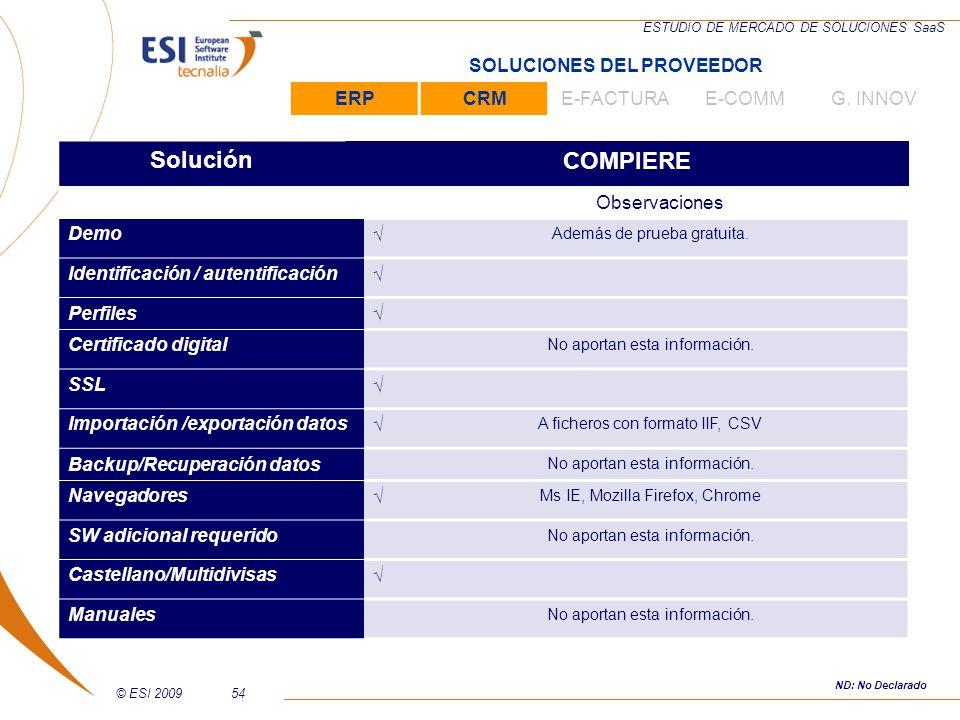 © ESI 200954 ESTUDIO DE MERCADO DE SOLUCIONES SaaS SoluciónCOMPIERE Observaciones Demo Además de prueba gratuita. Identificación / autentificación Per