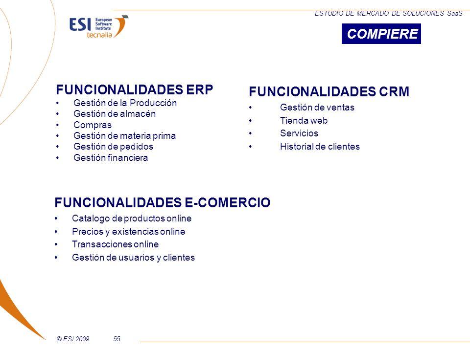 © ESI 200955 ESTUDIO DE MERCADO DE SOLUCIONES SaaS FUNCIONALIDADES ERP Gestión de la Producción Gestión de almacén Compras Gestión de materia prima Ge