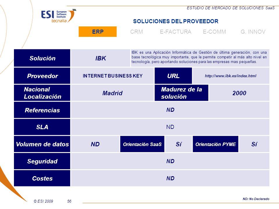 © ESI 200956 ESTUDIO DE MERCADO DE SOLUCIONES SaaS SoluciónIBK IBK es una Aplicación Informática de Gestión de última generación, con una base tecnoló
