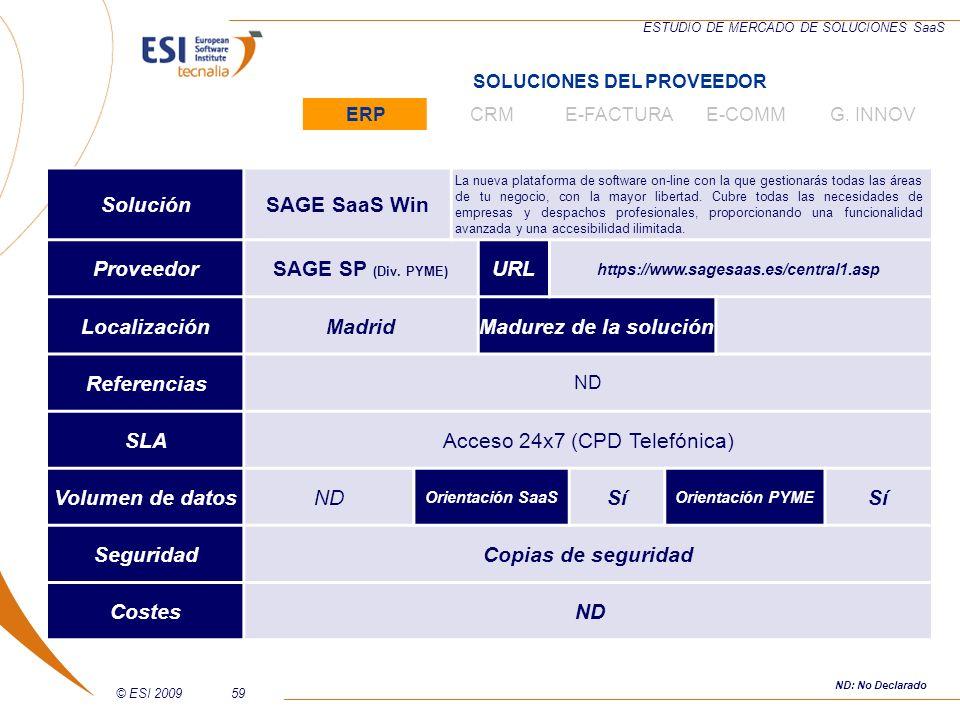 © ESI 200959 ESTUDIO DE MERCADO DE SOLUCIONES SaaS SoluciónSAGE SaaS Win La nueva plataforma de software on-line con la que gestionarás todas las área