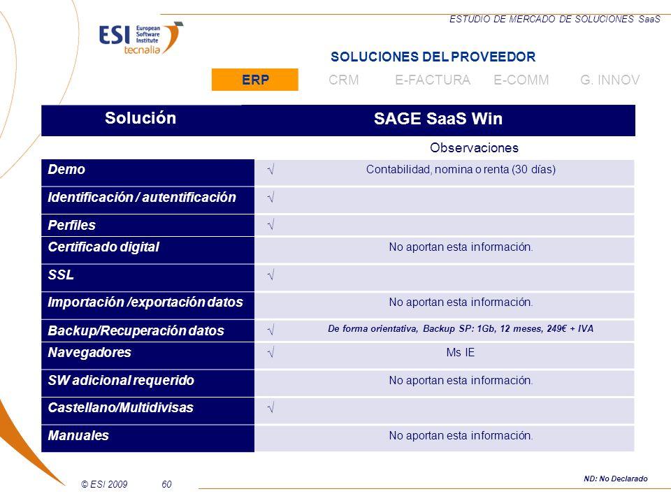 © ESI 200960 ESTUDIO DE MERCADO DE SOLUCIONES SaaS SoluciónSAGE SaaS Win Observaciones Demo Contabilidad, nomina o renta (30 días) Identificación / au