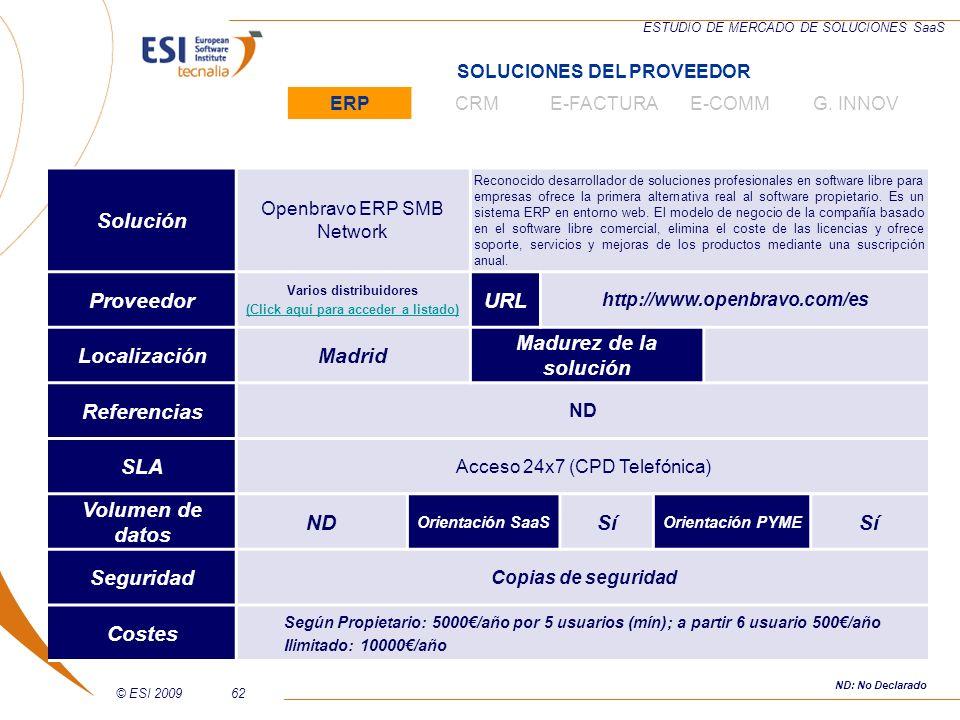 © ESI 200962 ESTUDIO DE MERCADO DE SOLUCIONES SaaS Solución Openbravo ERP SMB Network Reconocido desarrollador de soluciones profesionales en software