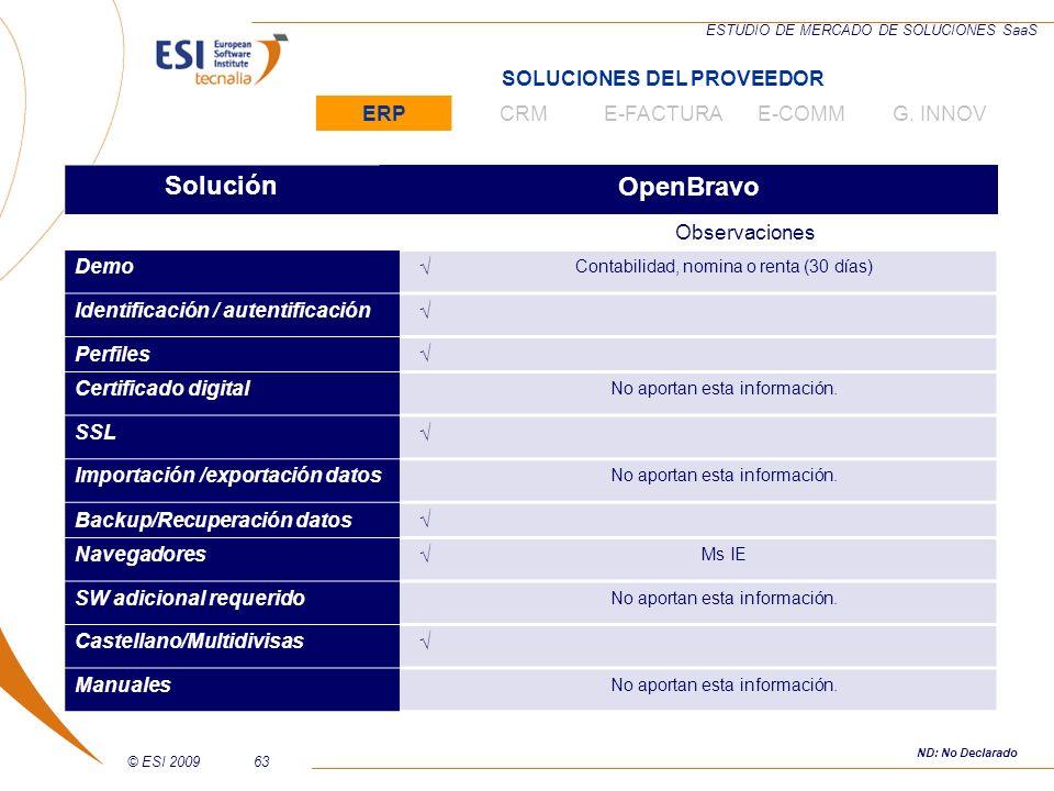 © ESI 200963 ESTUDIO DE MERCADO DE SOLUCIONES SaaS SoluciónOpenBravo Observaciones Demo Contabilidad, nomina o renta (30 días) Identificación / autent
