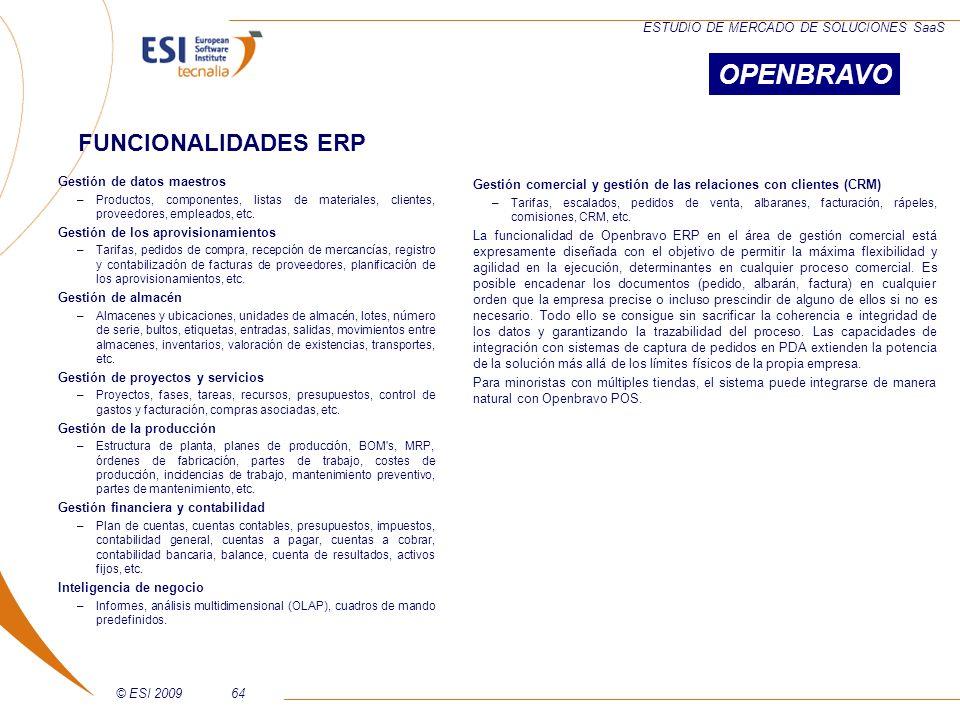 © ESI 200964 ESTUDIO DE MERCADO DE SOLUCIONES SaaS Gestión de datos maestros –Productos, componentes, listas de materiales, clientes, proveedores, emp