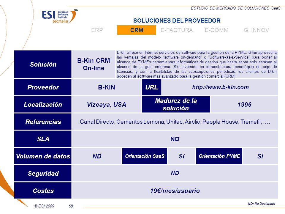 © ESI 200968 ESTUDIO DE MERCADO DE SOLUCIONES SaaS Solución B-Kin CRM On-line B-kin ofrece en Internet servicios de software para la gestión de la PYM