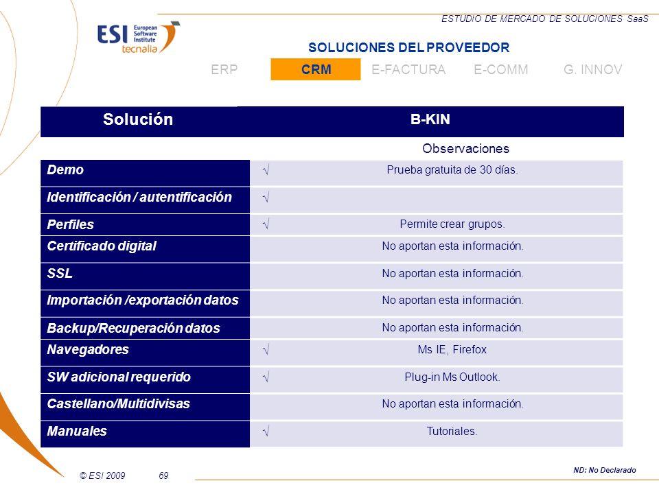 © ESI 200969 ESTUDIO DE MERCADO DE SOLUCIONES SaaS Solución B-KIN Observaciones Demo Prueba gratuita de 30 días. Identificación / autentificación Perf