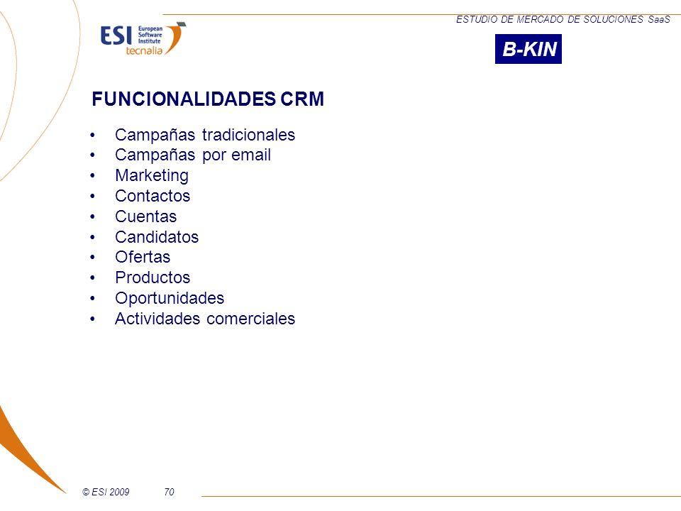 © ESI 200970 ESTUDIO DE MERCADO DE SOLUCIONES SaaS Campañas tradicionales Campañas por email Marketing Contactos Cuentas Candidatos Ofertas Productos