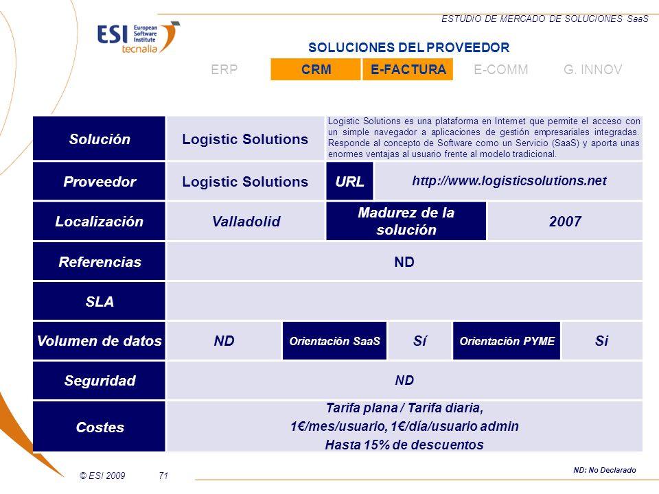 © ESI 200971 ESTUDIO DE MERCADO DE SOLUCIONES SaaS SoluciónLogistic Solutions Logistic Solutions es una plataforma en Internet que permite el acceso c