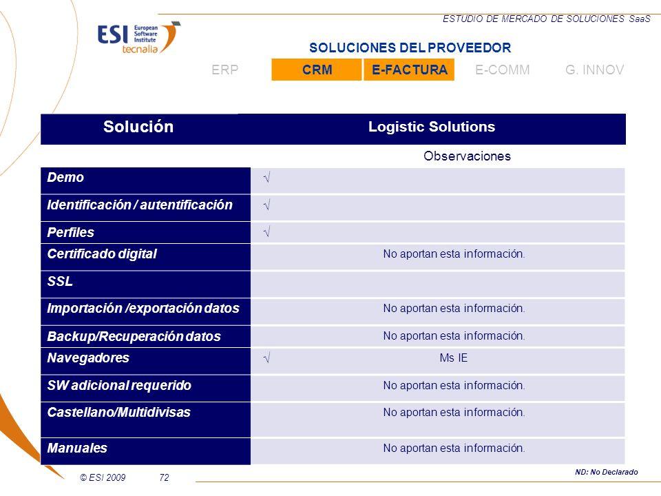 © ESI 200972 ESTUDIO DE MERCADO DE SOLUCIONES SaaS Solución Logistic Solutions Observaciones Demo Identificación / autentificación Perfiles Certificad