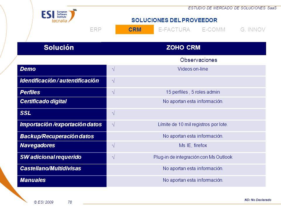 © ESI 200978 ESTUDIO DE MERCADO DE SOLUCIONES SaaS Solución ZOHO CRM Observaciones Demo Videos on-line Identificación / autentificación Perfiles 15 pe