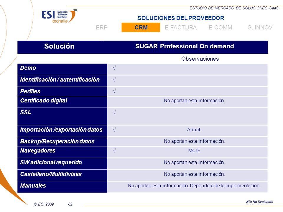 © ESI 200982 ESTUDIO DE MERCADO DE SOLUCIONES SaaS Solución SUGAR Professional On demand Observaciones Demo Identificación / autentificación Perfiles