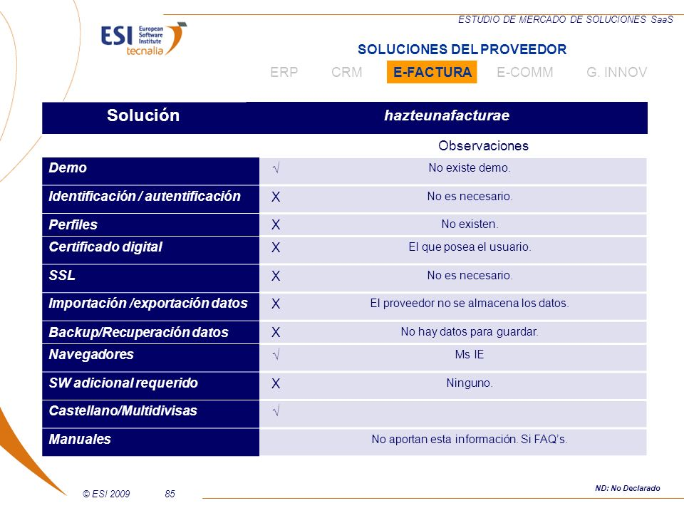 © ESI 200985 ESTUDIO DE MERCADO DE SOLUCIONES SaaS Solución hazteunafacturae Observaciones Demo No existe demo. Identificación / autentificaciónX No e