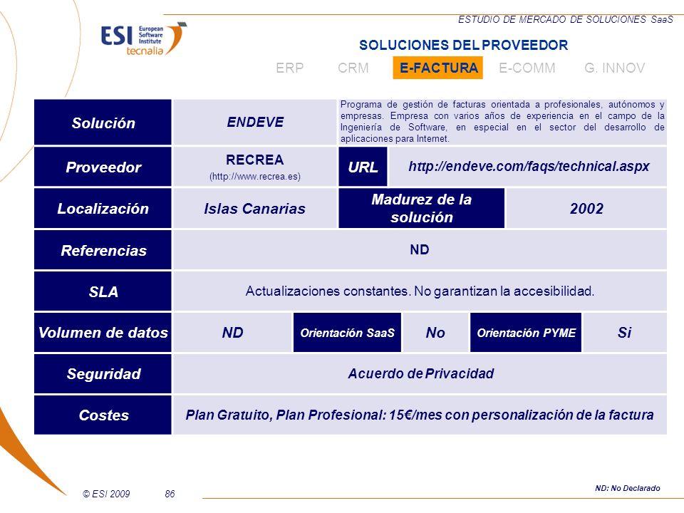 © ESI 200986 ESTUDIO DE MERCADO DE SOLUCIONES SaaS Solución ENDEVE Programa de gestión de facturas orientada a profesionales, autónomos y empresas. Em