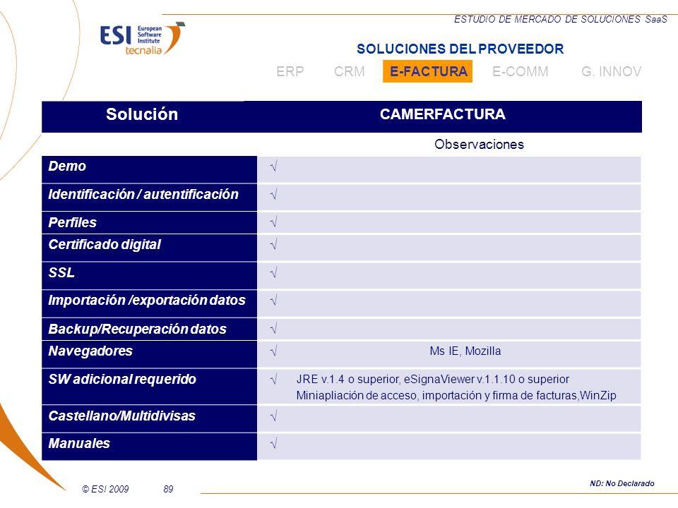 © ESI 200989 ESTUDIO DE MERCADO DE SOLUCIONES SaaS Solución CAMERFACTURA Observaciones Demo Identificación / autentificación Perfiles Certificado digi