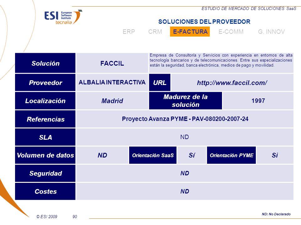 © ESI 200990 ESTUDIO DE MERCADO DE SOLUCIONES SaaS SoluciónFACCIL Empresa de Consultoría y Servicios con experiencia en entornos de alta tecnología ba