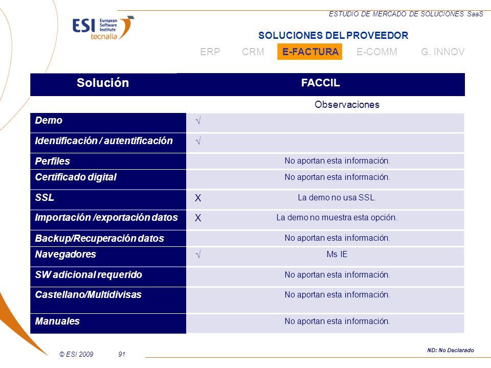 © ESI 200991 ESTUDIO DE MERCADO DE SOLUCIONES SaaS Solución FACCIL Observaciones Demo Identificación / autentificación Perfiles No aportan esta inform