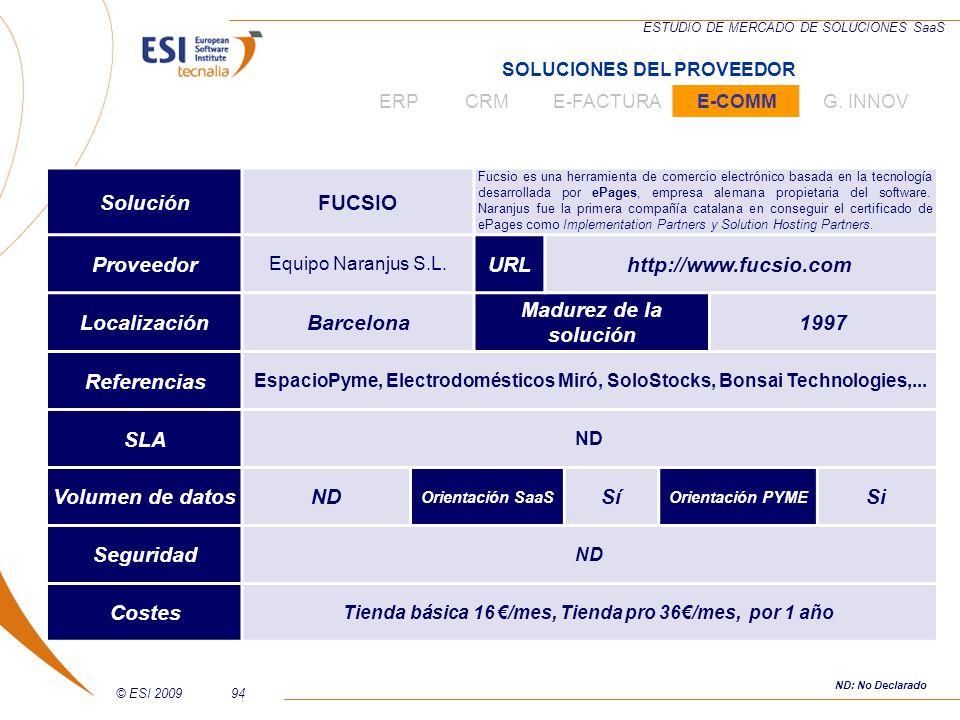 © ESI 200994 ESTUDIO DE MERCADO DE SOLUCIONES SaaS SoluciónFUCSIO Fucsio es una herramienta de comercio electrónico basada en la tecnología desarrolla
