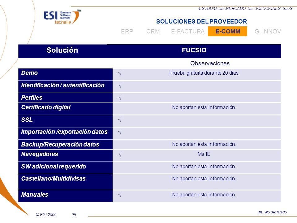 © ESI 200995 ESTUDIO DE MERCADO DE SOLUCIONES SaaS Solución FUCSIO Observaciones Demo Prueba gratuita durante 20 días Identificación / autentificación